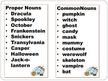 Halloween Common Proper Noun Sort By Mrs H S Resource Room