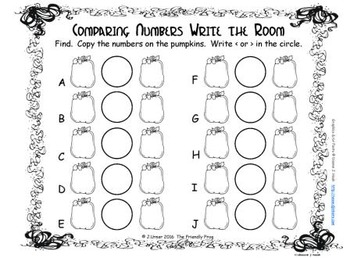 Halloween Comparing Numbers 10-19