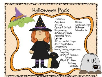 Halloween Complete Pack with Math, Writing, Reading, Halloween Sign, & More
