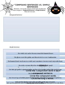 Halloween Compound Sentences vs. Simple Sentences