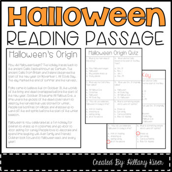 Halloween Reading Passage