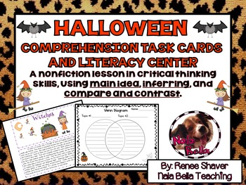Halloween Comprehension Skills and Task Cards Literacy Center