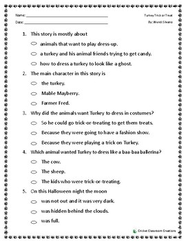Halloween Comprehension Test: Turkey Trick or Treat