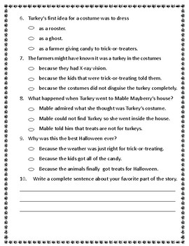 Halloween Comprehension Test: Turkey Trick or Treat