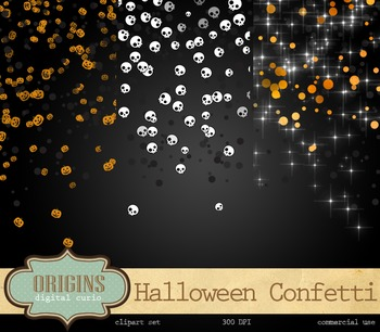 Halloween Confetti Overlays Clipart Skull Pumpkin Party Clip Art