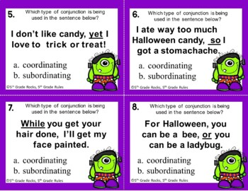 Halloween Conjunction (coordinating and subordinating) Task Cards/Scoot