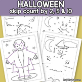 Halloween Connect the Dots - Dot to Dot Skip Counting by 2, 5, 10 Worksheets