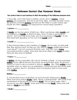 Halloween Context Clue Nonsense Words