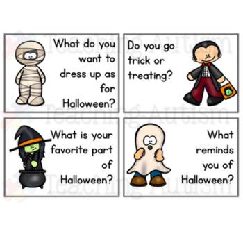Halloween Conversation Prompt Task Cards Social Skills