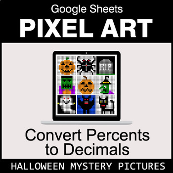 Halloween - Convert Percents to Decimals - Google Sheets Pixel Art