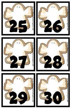 Halloween Cookie Calendar Pieces Memory Game Preschool, Kindergarten