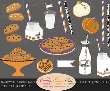 Halloween Cookie Clip Art, Milk and Cookies Clipart, Fall Cookie Party Clipart