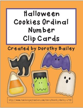 Halloween Cookie Ordinal Number Clip Cards