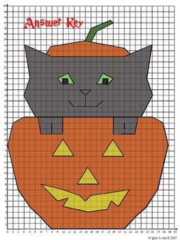 """Halloween Activities: Coordinate Graphing Mystery Picture """"Sparky"""""""