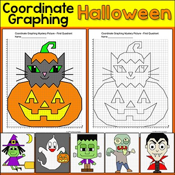 Halloween Math Coordinate Graphing Pictures Ordered Pairs - Halloween Activities