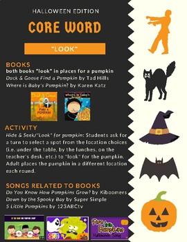 Halloween Core Vocabulary Speech Groups