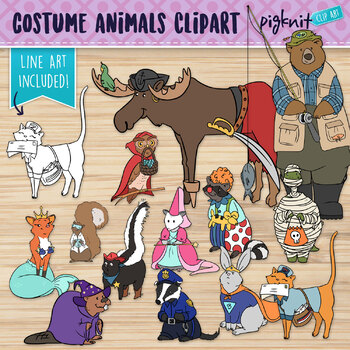 Halloween Costume Animals Clip Art | Trick or Treat Clipar