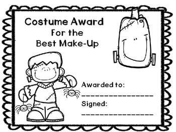 halloween activities halloween costume awards by learning