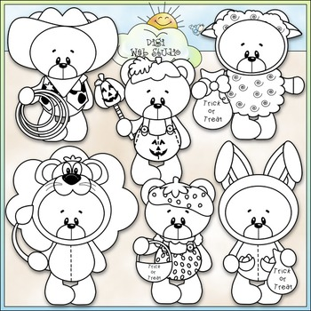 Halloween Costume Bears Clip Art - Trick or Treat Bears - CU Clip Art & B&W