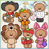 Halloween Costume Bears Clip Art - Trick or Treat Bears -