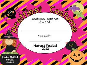 Halloween Costume Contest Awar Certifictes and Food Signs