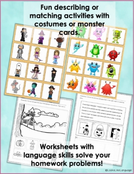 Halloween Costume Picture Activities for Mixed Level Groups
