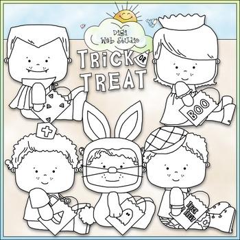 Halloween Costume Kids Clip Art 2 - Halloween Clip Art - CU Clip Art & B&W