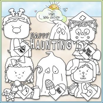 Halloween Costume Kids Clip Art 3 - Halloween Clip Art - CU Clip Art & B&W