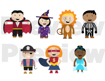 Halloween Trick or Treaters Clip Art — Color and line art — Costumes and Kids —