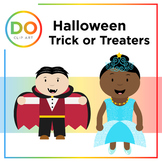 Halloween Trick or Treaters Clip Art — Color and line art