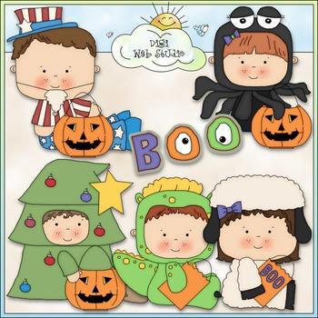 Halloween Costume Kids Clip Art 5 - Halloween Clip Art - C