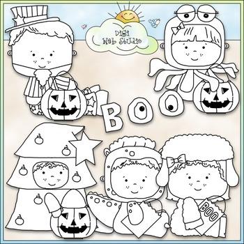 Halloween Costume Kids Clip Art 5 - Halloween Clip Art - CU Clip Art & B&W