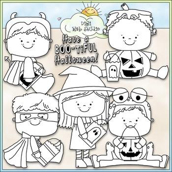 Halloween Costume Kids Clip Art 6 - Halloween Clip Art - CU Clip Art & B&W