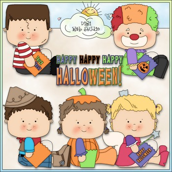 Halloween Costume Kids Clip Art Bundle - Trick or Treat - 7 Clip Art & B&W Sets