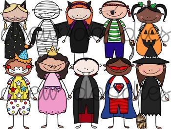 Halloween Costume Kids- Color and Black Line Versions- 40 Images Total!