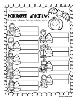Halloween: Costume Kids and Candy Corn Antonyms Match