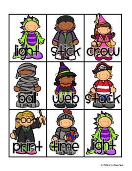 Halloween: Costume Kids and Candy Corn Compound Word Match