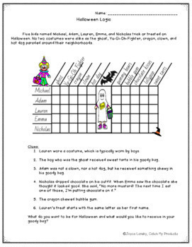 Halloween Logic Puzzle for 3rd Grade