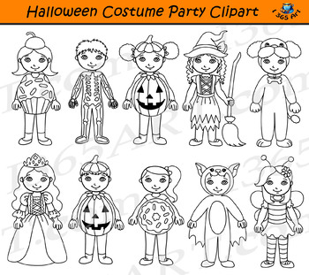 Halloween Costume Party Clipart Kids