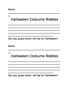 Halloween Costume Riddles