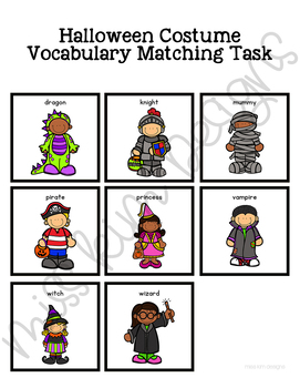 Halloween Costume Vocabulary Folder Game for Early Childhood Special Education