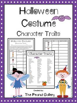 halloween costumes character traits by the peanut gallery tpt. Black Bedroom Furniture Sets. Home Design Ideas