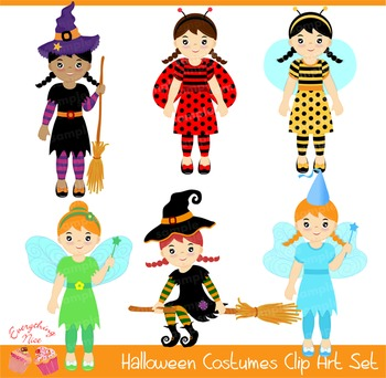 Costume Party Witch Fairy Tinkerbell Ladybug Bee Girl Clipart Set