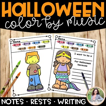Halloween Costumes Color by Note & Rests PLUS Writing Prompt