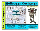 Halloween Costumes - Editable Resource Sampler Pack - 13 pages *o