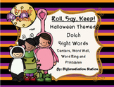 """Halloween Costumes """"Roll, Say, Keep!"""" Primer Dolch Sight Word Center + Extra"""