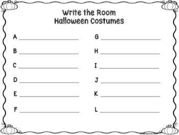 Halloween Costumes Write The Room