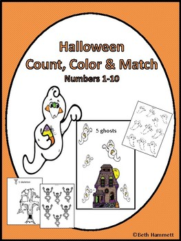 Halloween Count, Color and Match Activities