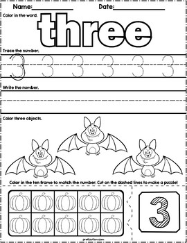 Halloween Count & Write Math Worksheets