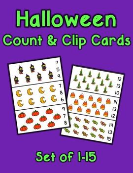 Halloween Count and Clip Cards 1-15